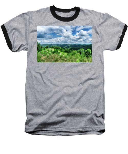 Rolling Hills And Puffy Clouds Baseball T-Shirt