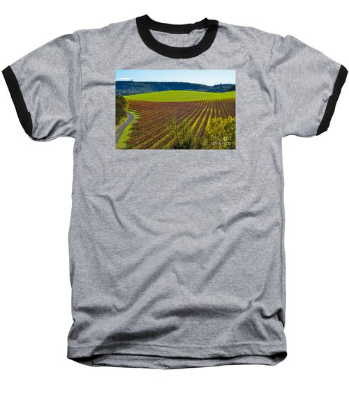 Rolling Hills And Vineyards Baseball T-Shirt by CML Brown