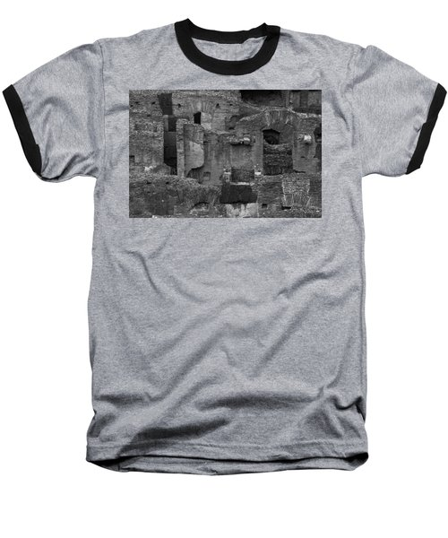 Baseball T-Shirt featuring the photograph Roman Colosseum Bw by Silvia Bruno