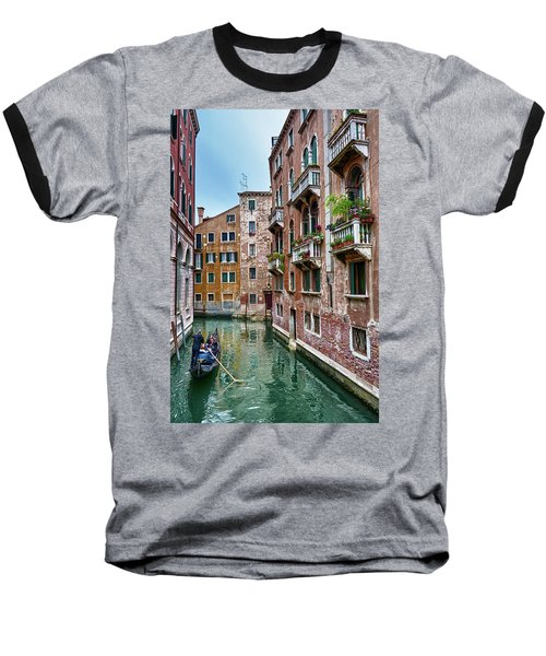 Gondola Ride Surrounded By Vintage Buildings In Venice, Italy Baseball T-Shirt