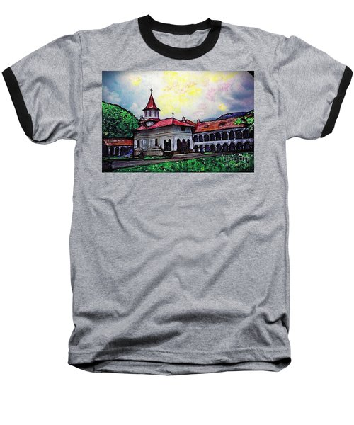 Romanian Monastery Baseball T-Shirt by Sarah Loft