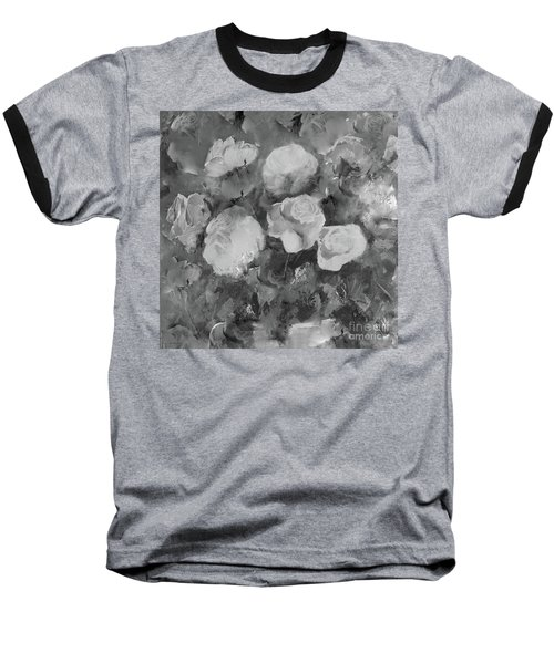 Baseball T-Shirt featuring the painting Romantic Large Roses  by Robin Maria Pedrero