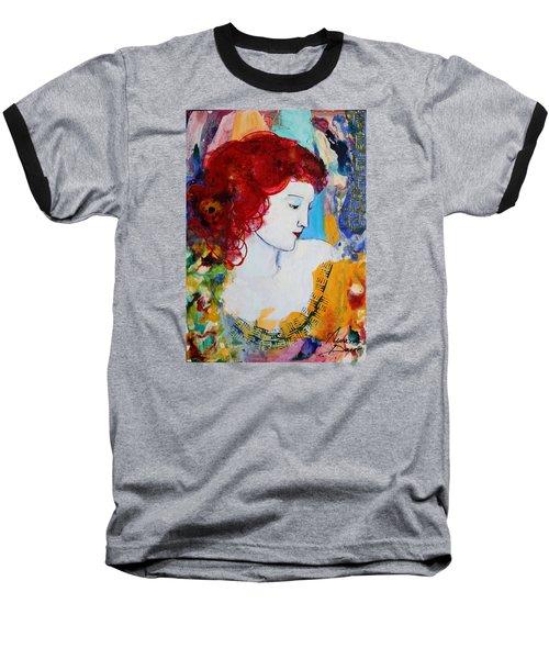 Romantic Read Heaired Woman Baseball T-Shirt by Amara Dacer