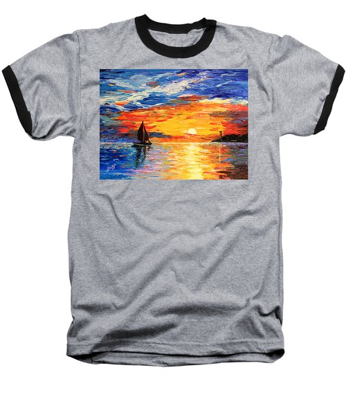Baseball T-Shirt featuring the painting Romantic Sea Sunset by Georgeta  Blanaru