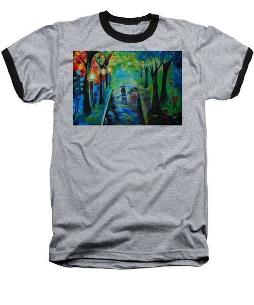 Baseball T-Shirt featuring the painting Romantic Stroll by Leslie Allen