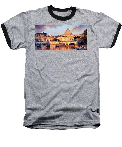 Rome The Eternal City - Saint Peter From The Tiber Baseball T-Shirt
