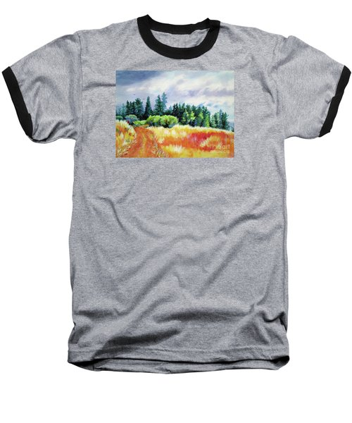 Baseball T-Shirt featuring the painting Romp On The Hill by Kathy Braud