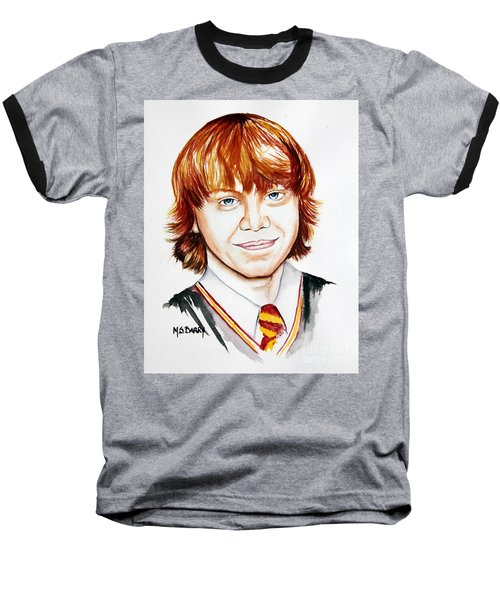 Baseball T-Shirt featuring the painting Ron Weasley by Maria Barry
