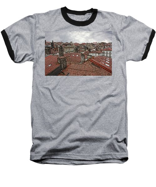 Roofs Over Santiago Baseball T-Shirt by Angel Jesus De la Fuente
