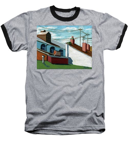 Baseball T-Shirt featuring the painting Rooftops by Linda Apple
