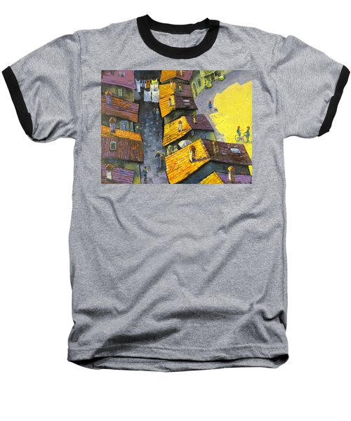 Baseball T-Shirt featuring the painting Rooftops by Mikhail Zarovny