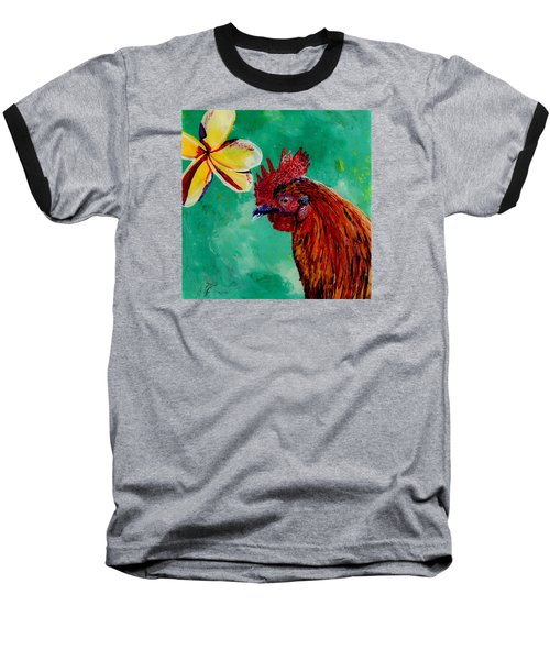 Baseball T-Shirt featuring the painting Rooster And Plumeria by Marionette Taboniar