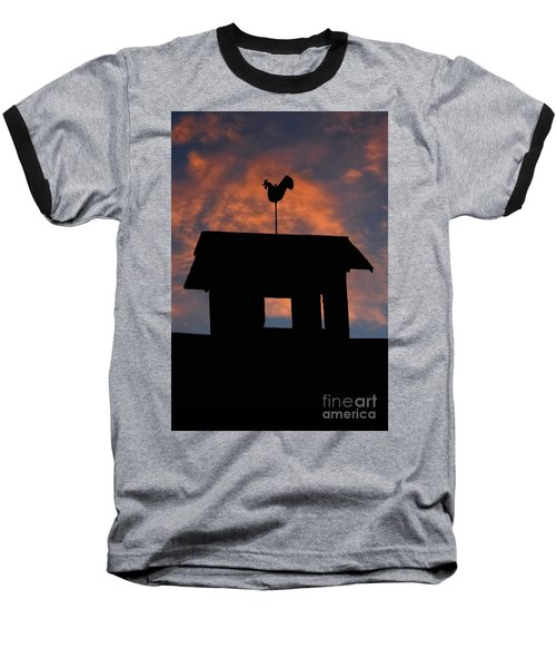 Baseball T-Shirt featuring the photograph Rooster Weather Vane Silhouette by Henry Kowalski