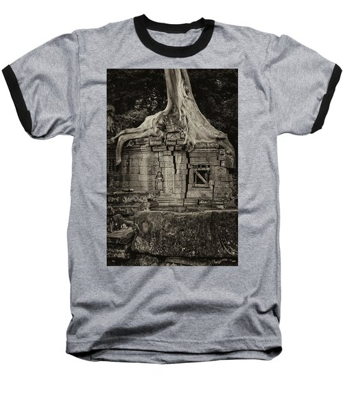 Baseball T-Shirt featuring the photograph Roots In Ruins 5, Ta Prohm, 2014 by Hitendra SINKAR