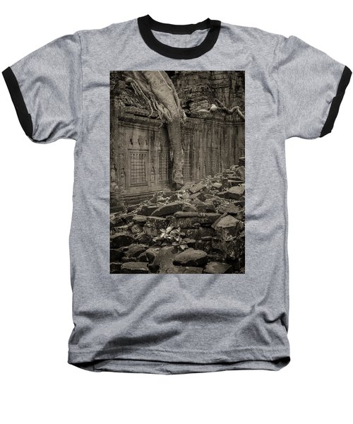 Baseball T-Shirt featuring the photograph Roots In Ruins 6, Ta Prohm, 2014 by Hitendra SINKAR