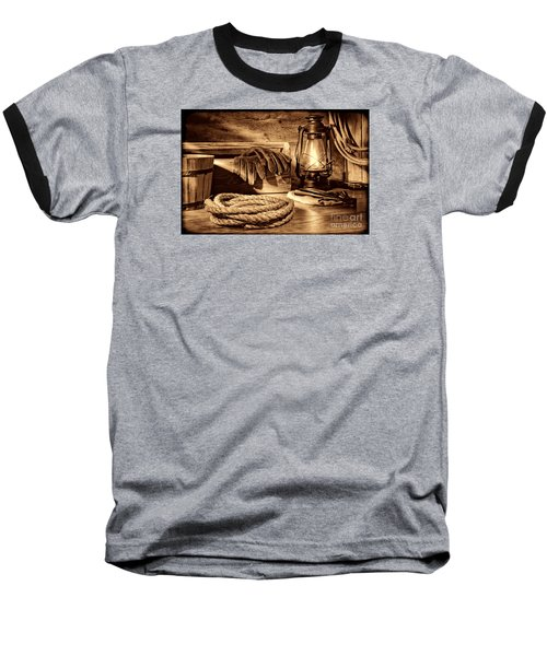 Rope And Tools In A Barn Baseball T-Shirt by American West Legend By Olivier Le Queinec