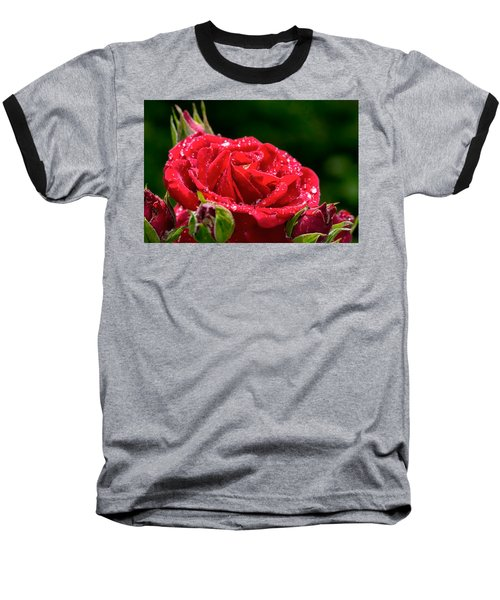 Baseball T-Shirt featuring the photograph Rose After Rain by Leif Sohlman