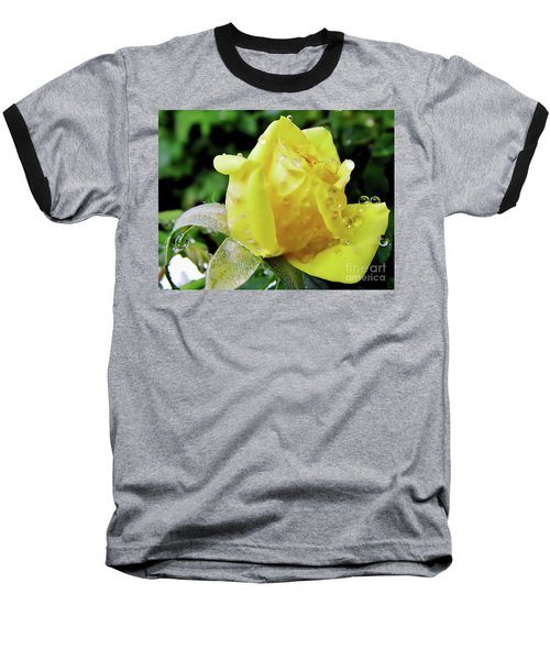 Rose Bud Dew Drops Baseball T-Shirt