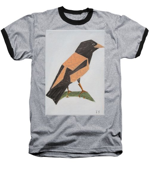 Rose-coloured Starling Baseball T-Shirt by Tamara Savchenko
