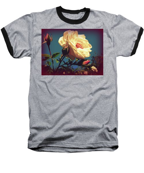 Rose Facing The Sun Baseball T-Shirt by Susan Lafleur