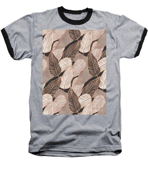 Rose Gold Jungle Leaves Baseball T-Shirt