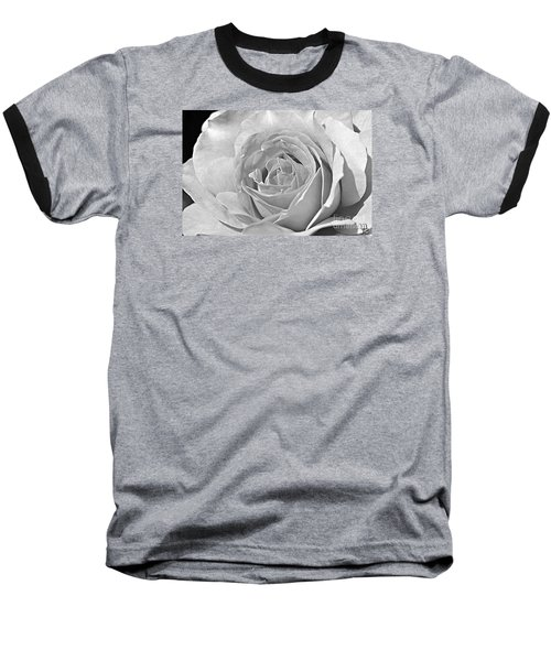 Rose In Black And White Baseball T-Shirt by Mindy Bench