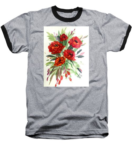 Baseball T-Shirt featuring the painting Rose Love by Dorothy Maier