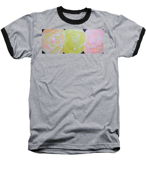 Rose Medley With Dewdrops Baseball T-Shirt