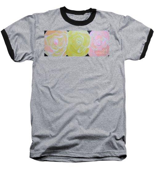 Rose Medley With Dewdrops Baseball T-Shirt