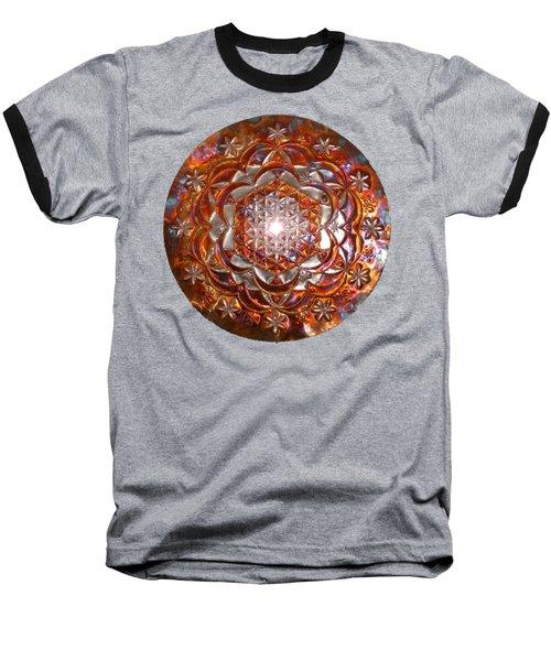 Baseball T-Shirt featuring the sculpture Rose Of Life Copper Lightmandala by Robert Thalmeier