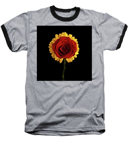 Rose On Yellow Flower Black Background Baseball T-Shirt by Sergey Taran