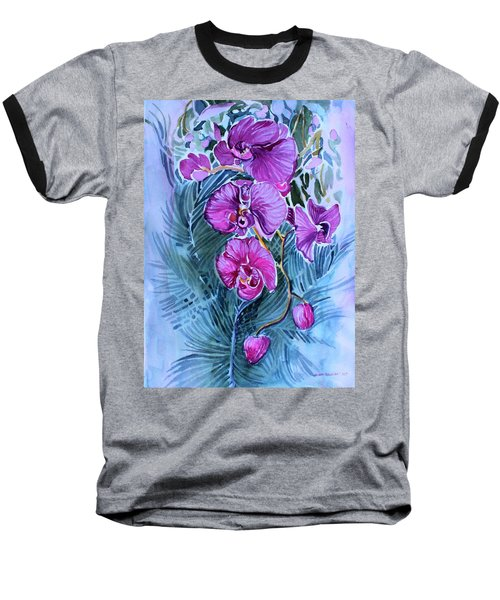 Rose Orchids Baseball T-Shirt by Mindy Newman