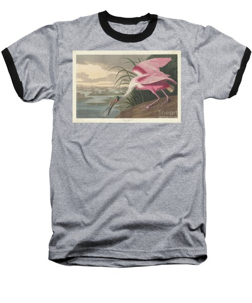 Roseate Spoonbill, 1836  Baseball T-Shirt by John James Audubon