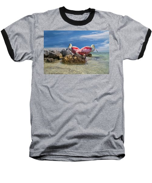 Roseate Spoonbill Florida Keys Baseball T-Shirt