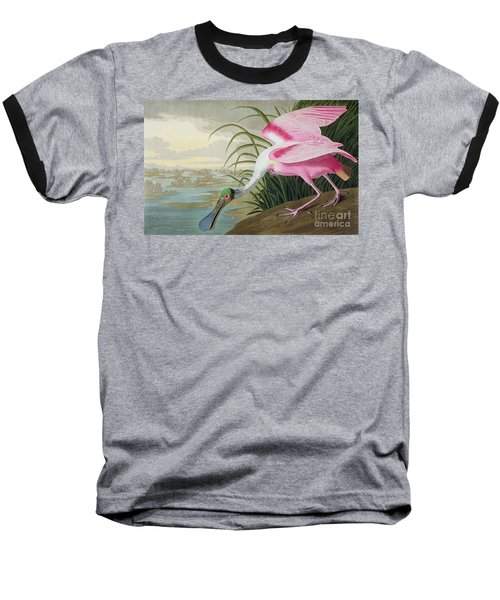 Roseate Spoonbill Baseball T-Shirt by John James Audubon