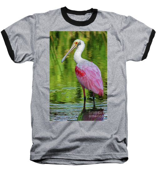 Roseate Spoonbill Portrait Baseball T-Shirt by Larry Nieland