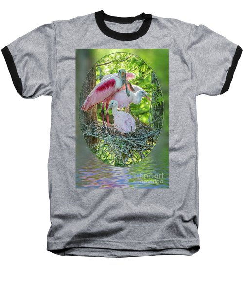 Roseate Spoonbills In Evangeline Parish Louisiana Baseball T-Shirt