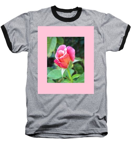 Rosebud With Border Baseball T-Shirt by Mary Ellen Frazee