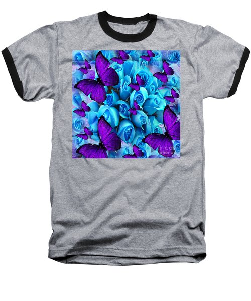 Roses And Purple Butterflies Baseball T-Shirt by Saundra Myles