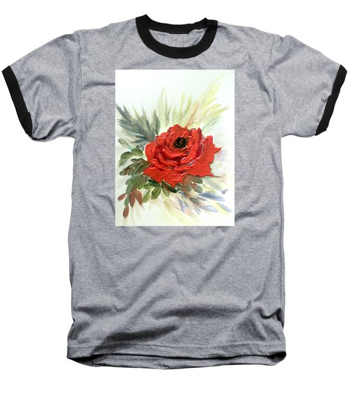 Baseball T-Shirt featuring the painting Roses Are Red by Dorothy Maier
