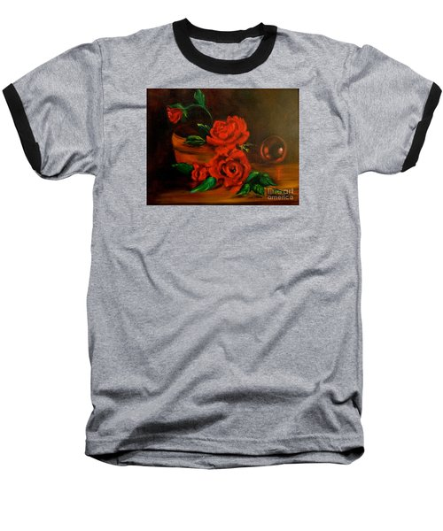 Baseball T-Shirt featuring the painting Roses Are Red by Jenny Lee