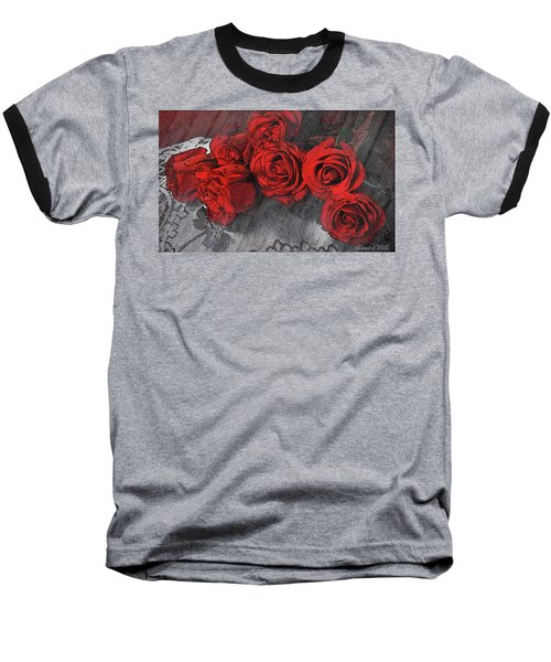 Baseball T-Shirt featuring the photograph Roses On Lace by Bonnie Willis