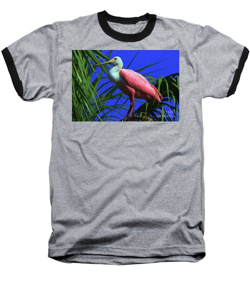 Baseball T-Shirt featuring the painting Rosetta Spoonbill Alligator Farm by Deborah Benoit