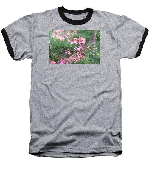 Rosey Ripples Baseball T-Shirt by Linda Geiger