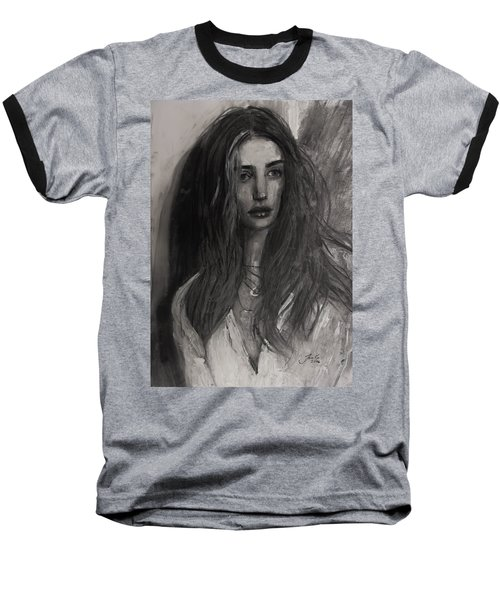 Baseball T-Shirt featuring the painting Rosie Huntington-whiteley by Jarko Aka Lui Grande