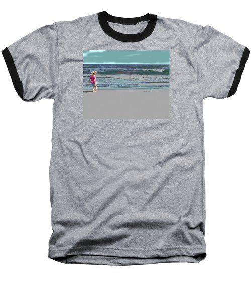 Baseball T-Shirt featuring the digital art Rosie On The Beach by Walter Chamberlain