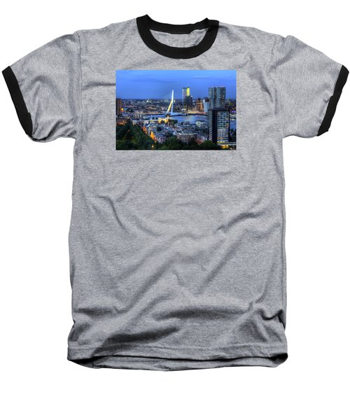 Baseball T-Shirt featuring the photograph Rotterdam Skyline With Erasmus Bridge by Shawn Everhart