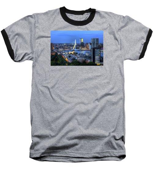 Rotterdam Skyline With Erasmus Bridge Baseball T-Shirt by Shawn Everhart