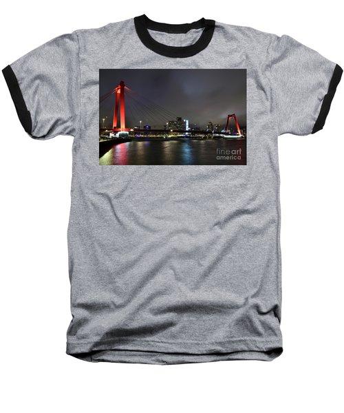 Rotterdam - Willemsbrug At Night Baseball T-Shirt