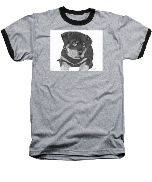 Rottweiler Puppy Baseball T-Shirt by Patricia Hiltz